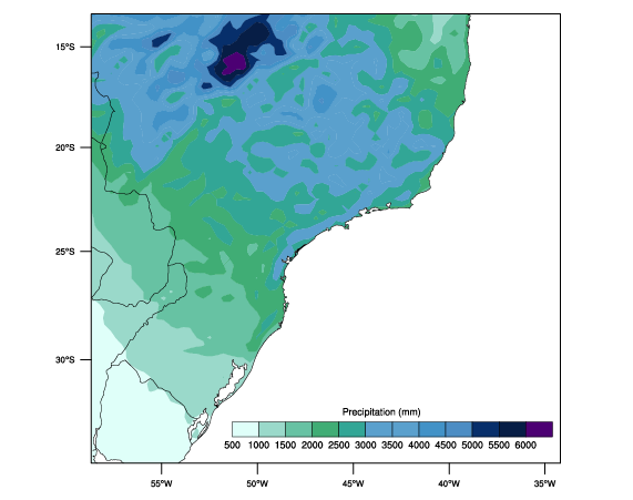 Climatological annual precipitation over southern Brazil downscaled from ERA-I reanalysis as part of a project led by Clint Rowe