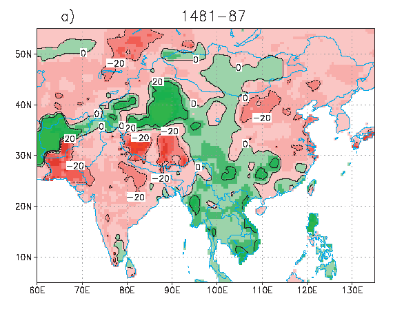 Results of research by Dr. Steve Hu showing growing season precipitation change for extreme paleo- and historical droughts in India and north-central China from reconstructed Eurasian precipitation.
